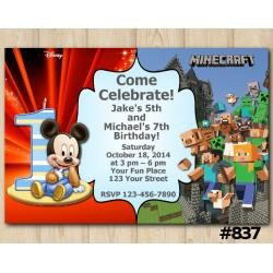 Twin Baby Mickey Mouse and Minecraft Invitation
