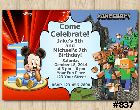 Twin Baby Mickey Mouse and Minecraft Invitation | Personalized Digital Card