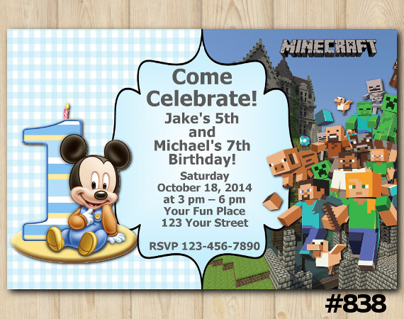 Twin Baby Mickey Mouse and Minecraft Invitation   Personalized Digital Card