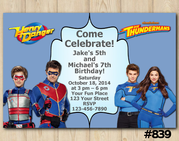 Twin Henry Danger and Thundermans Invitation | Personalized Digital Card
