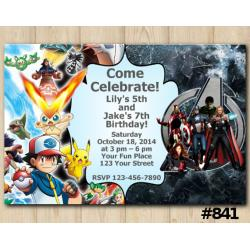Twin Pokemon and Avengers Invitation
