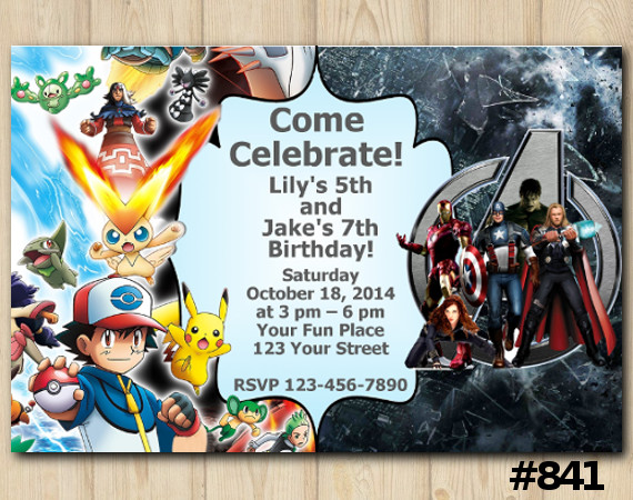 Twin Pokemon and Avengers Invitation | Personalized Digital Card