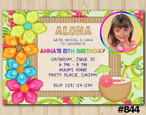 Luau Photo invitation | Personalized Digital Card