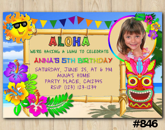 Luau Photo invitation | Personalized Digital Card