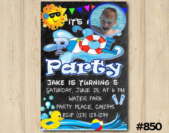 Pool Party Photo invitation | Personalized Digital Card