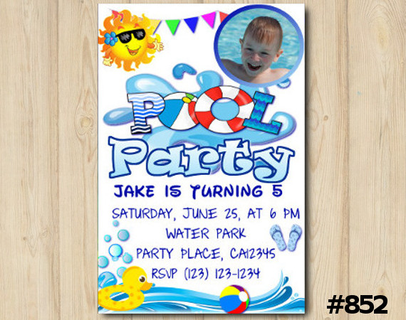 Pool Party Photo invitation   Personalized Digital Card