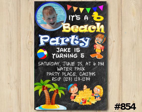Beach Party Photo invitation   Personalized Digital Card