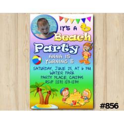 Beach Party Photo invitation