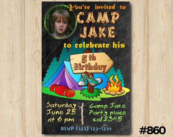 Camping Party Photo invitation   Personalized Digital Card