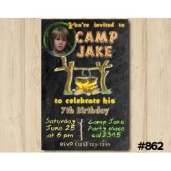 Camping Party Photo invitation