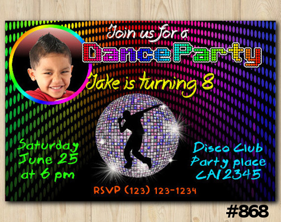 Dance Party Photo invitation | Personalized Digital Card