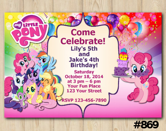Twin My Little Pony Invitation | Personalized Digital Card