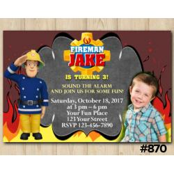 Fireman Sam Invitation with photo