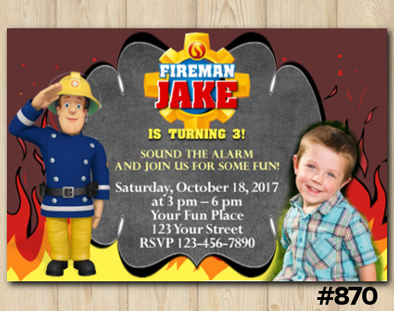 Fireman Sam Invitation with photo | Personalized Digital Card