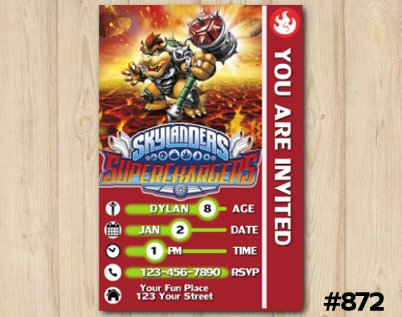 Skylanders Superchargers Game Card Invitation | Browser | Personalized Digital Card