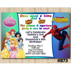 Twin Disney Princesses and Spiderman Invitation