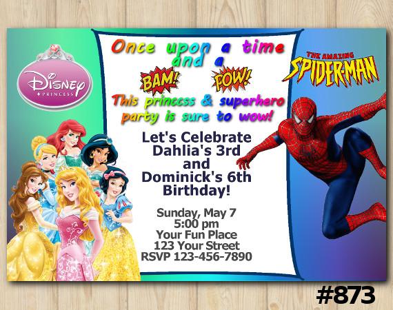Twin Disney Princesses and Spiderman Invitation | Personalized Digital Card