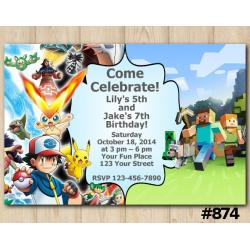 Twin Pokemon and Minecraft Invitation