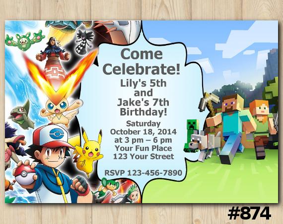 Twin Pokemon and Minecraft Invitation   Personalized Digital Card