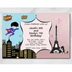 Twin Superhero and Paris Invitation