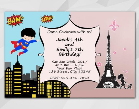 Twin Superhero and Paris Invitation   Personalized Digital Card