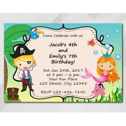 Twin Pirate and Mermaid Invitation