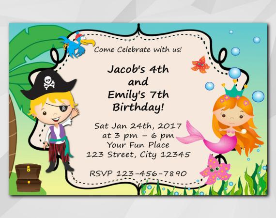 Twin Pirate and Mermaid Invitation | Personalized Digital Card