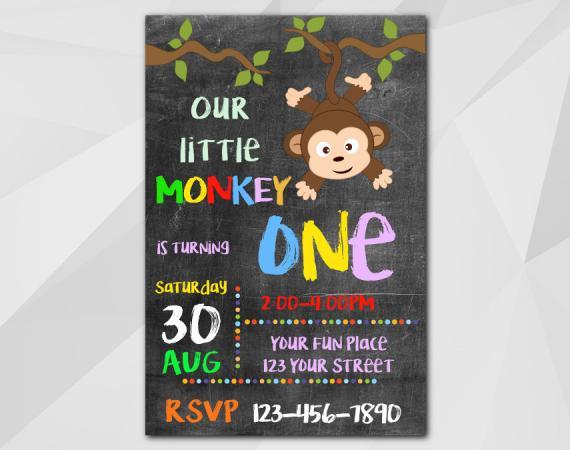 Little Monkey Invitation | Personalized Digital Card