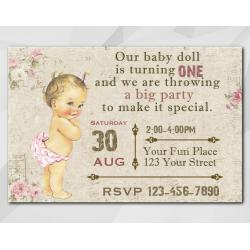 Vintage Baby 1st invitation