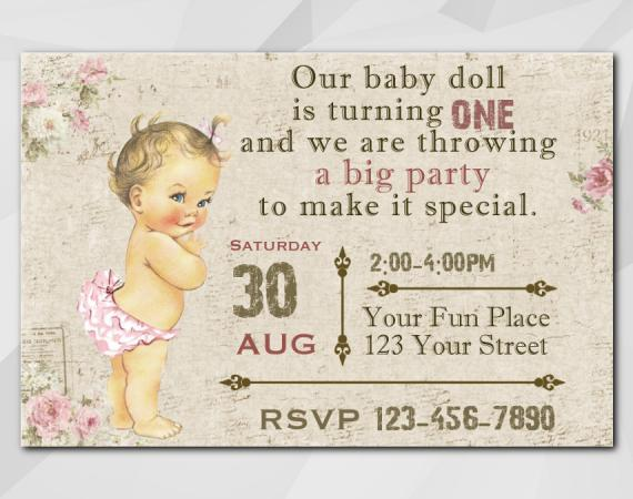 Vintage Baby 1st invitation | Personalized Digital Card