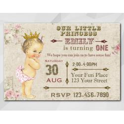 Vintage Baby 1st invitation