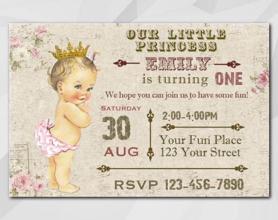 Vintage Baby 1st invitation   Personalized Digital Card