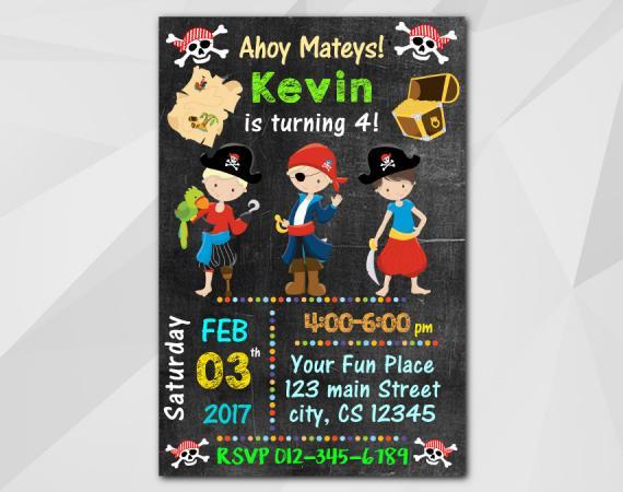 Pirate Invitation   Personalized Digital Card