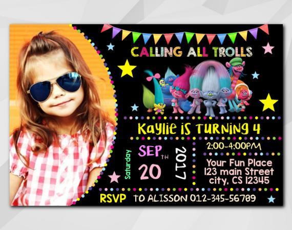 Trolls Invitation   Personalized Digital Card