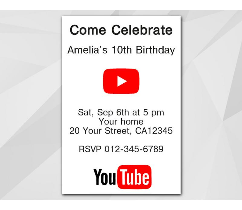 Youtube birthday invitation youtube invitation personalized digital card stopboris Image collections