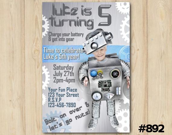 Robot invitation | Personalized Digital Card