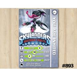 Skylanders Roller Brawl Game Card Invitation