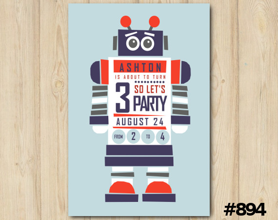 Robot invitation | Personalized Digital Card