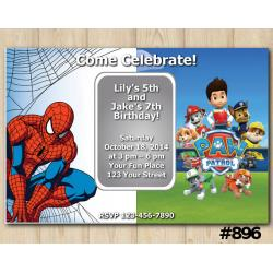 Twin Spiderman and Paw Patrol Invitation