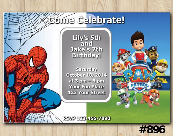 Twin Spiderman and Paw Patrol Invitation | Personalized Digital Card