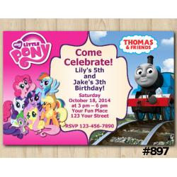 Twin My Little Pony and Frozen Birthday invitation