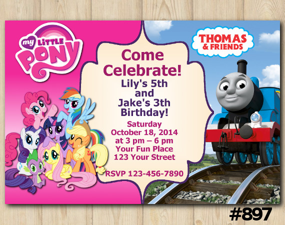 Twin My Little Pony and Thomas and Friends Invitation | Personalized Digital Card