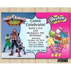 Twin Power Rangers and Shopkins Invitation
