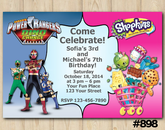 Twin Power Rangers and Shopkins Invitation | Personalized Digital Card