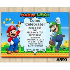 Super Mario Joint Twins Birthday Invitations DIY Printables