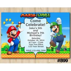 Twin Super Mario and Luigi invitation