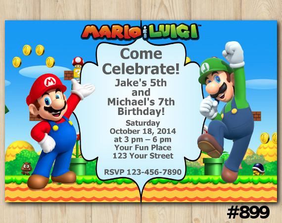 Twin Super Mario and Luigi invitation | Personalized Digital Card