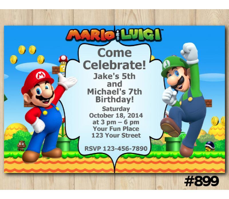 Twin Super Mario And Luigi Birthday Invitation