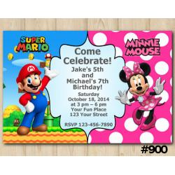 Twin Super Mario and Minnie Mouse invitation