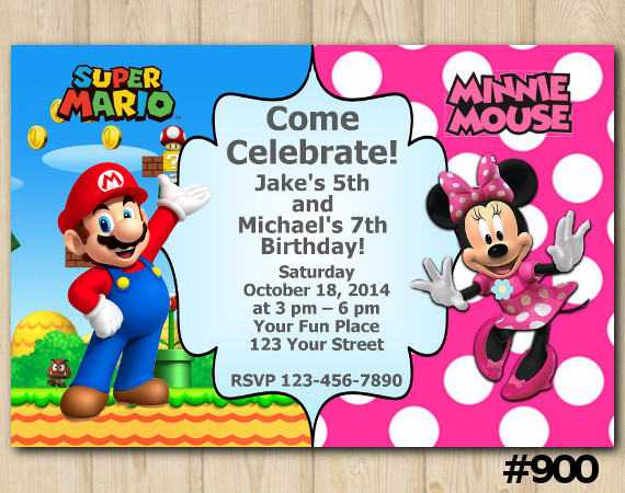 Twin Super Mario and Minnie Mouse invitation | Personalized Digital Card